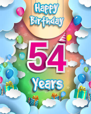 54th Years Birthday Design for greeting cards and poster, with clouds and gift box, balloons. design template for anniversary celebration.