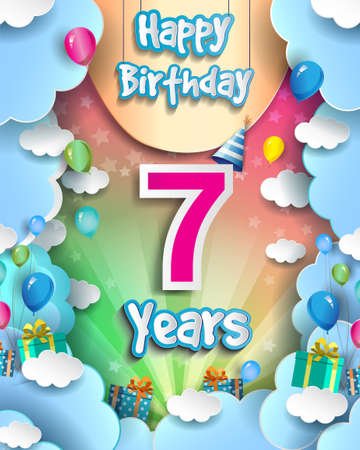 7th Years Birthday Design for greeting cards and poster, with clouds and gift box, balloons. design template for anniversary celebration.