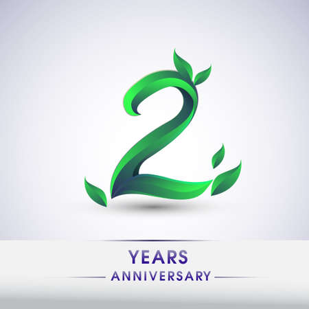 2nd years anniversary celebration logotype with leaf and green colored. Vector design for greeting card and invitation card on white background.