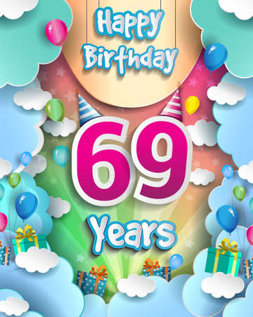69th Years Birthday Design for greeting cards and poster, with clouds and gift box, balloons. design template for anniversary celebration.