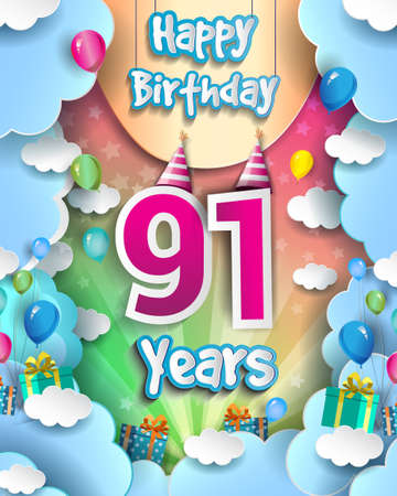 91st Years Birthday Design for greeting cards and poster, with clouds and gift box, balloons. design template for anniversary celebration.