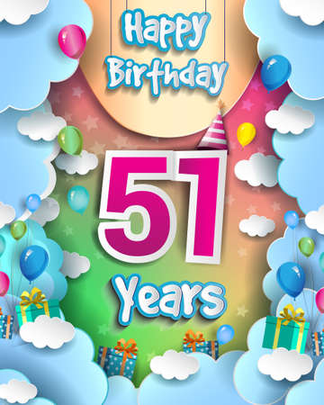 51st Years Birthday Design for greeting cards and poster, with clouds and gift box, balloons. design template for anniversary celebration. 向量圖像