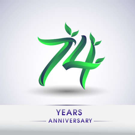 74th years anniversary celebration logotype with leaf and green colored. Vector design for greeting card and invitation card on white background.