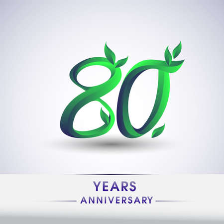 80th years anniversary celebration logotype with leaf and green colored. Vector design for greeting card and invitation card on white background. 向量圖像