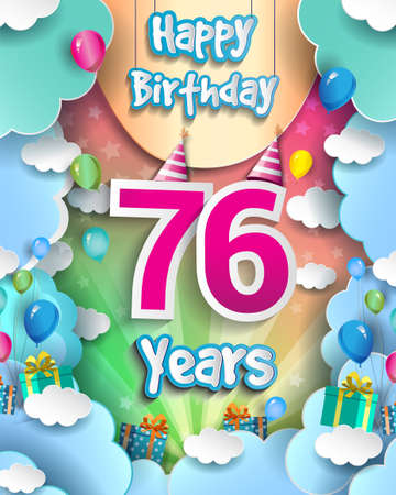 76th Years Birthday Design for greeting cards and poster, with clouds and gift box, balloons. design template for anniversary celebration.