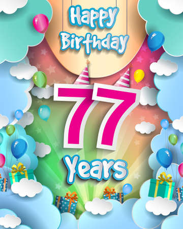 77th Years Birthday Design for greeting cards and poster, with clouds and gift box, balloons. design template for anniversary celebration.