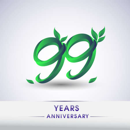99th years anniversary celebration logotype with leaf and green colored. Vector design for greeting card and invitation card on white background.