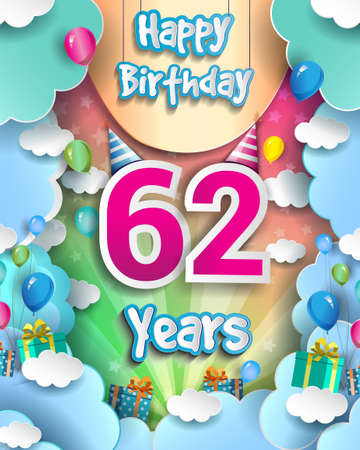 62nd Years Birthday Design for greeting cards and poster, with clouds and gift box, balloons. design template for anniversary celebration. 向量圖像