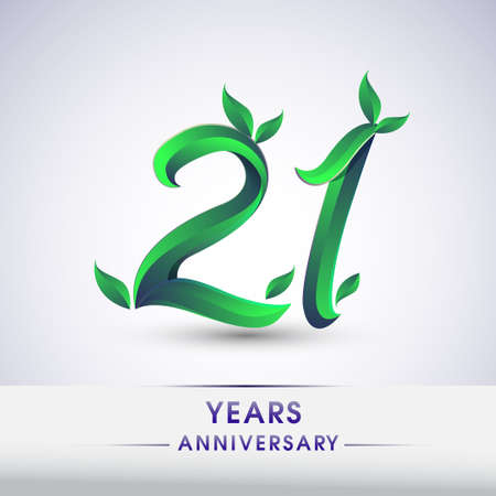 21st years anniversary celebration logotype with leaf and green colored. Vector design for greeting card and invitation card on white background.