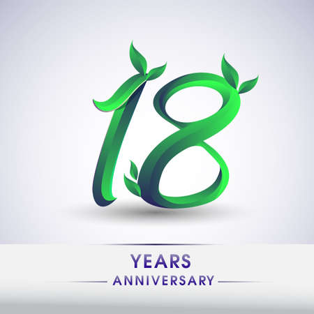 18th years anniversary celebration logotype with leaf and green colored. Vector design for greeting card and invitation card on white background. 向量圖像