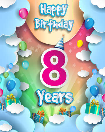 8th Years Birthday Design for greeting cards and poster, with clouds and gift box, balloons. design template for anniversary celebration.