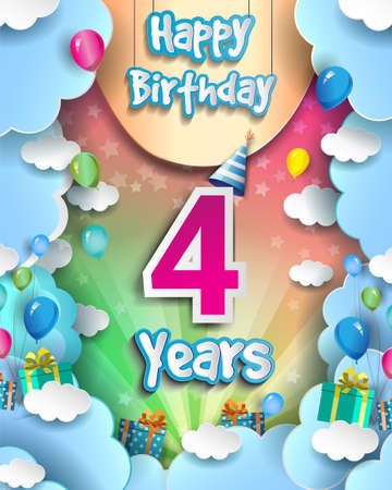 4th Years Birthday Design for greeting cards and poster, with clouds and gift box, balloons. design template for anniversary celebration.