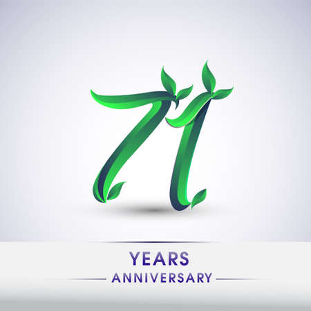 71st years anniversary celebration logotype with leaf and green colored. Vector design for greeting card and invitation card on white background.