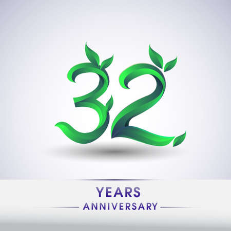 32nd years anniversary celebration logotype with leaf and green colored. Vector design for greeting card and invitation card on white background.