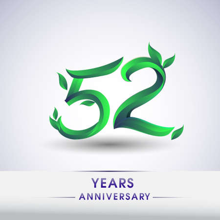 52nd years anniversary celebration logotype with leaf and green colored. Vector design for greeting card and invitation card on white background.