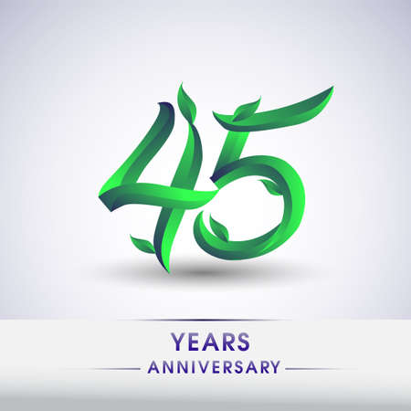 45th years anniversary celebration logotype with leaf and green colored. Vector design for greeting card and invitation card on white background.
