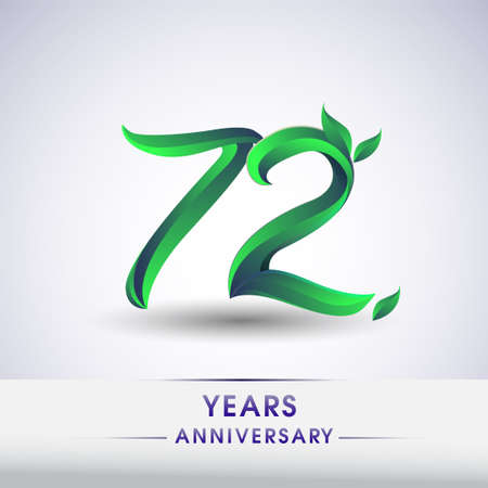 72nd years anniversary celebration logotype with leaf and green colored. Vector design for greeting card and invitation card on white background.