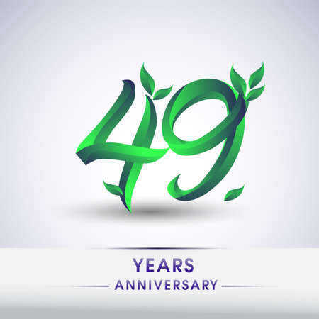 49th years anniversary celebration logotype with leaf and green colored. Vector design for greeting card and invitation card on white background.