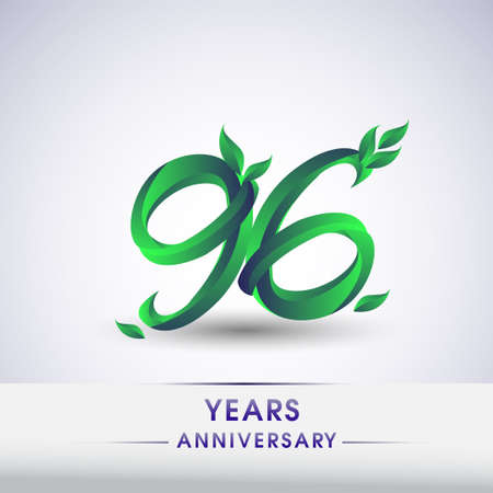 96th years anniversary celebration logotype with leaf and green colored. Vector design for greeting card and invitation card on white background.