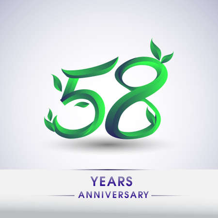 58th years anniversary celebration logotype with leaf and green colored. Vector design for greeting card and invitation card on white background.