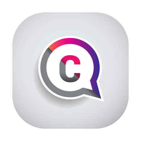 C letter colorful on circle chat icon. Vector design for your company identity. Illusztráció