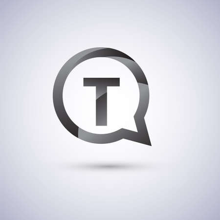 T letter, grey color on circle chat icon. Vector design for your company identity. Векторная Иллюстрация