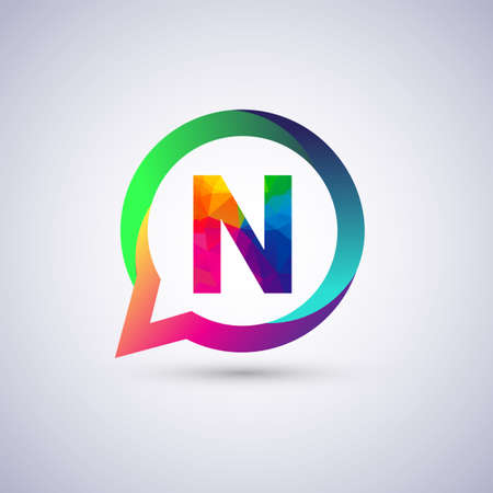 N letter colorful on circle chat icon. Vector design for your company identity.