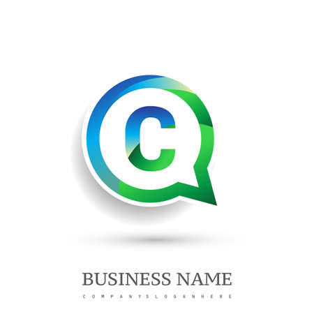 logo C letter, green and blue color on circle chat icon. Vector design for your logo application for company identity.
