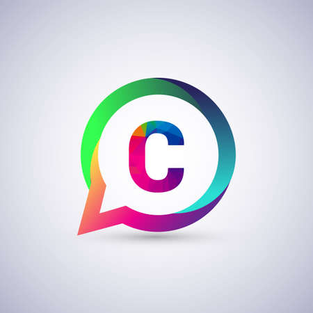 C letter colorful on circle chat icon. Vector design for your application for company identity.