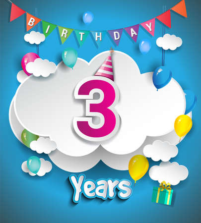 3rd Anniversary Celebration Design, with clouds and balloons, confetti. Vector template elements for birthday celebration party.