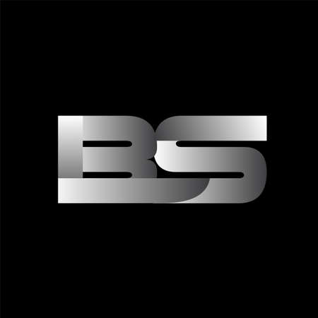 Initial letter BS uppercase modern and simple  linked white colored, isolated in black background. Vector design template elements for company identity.