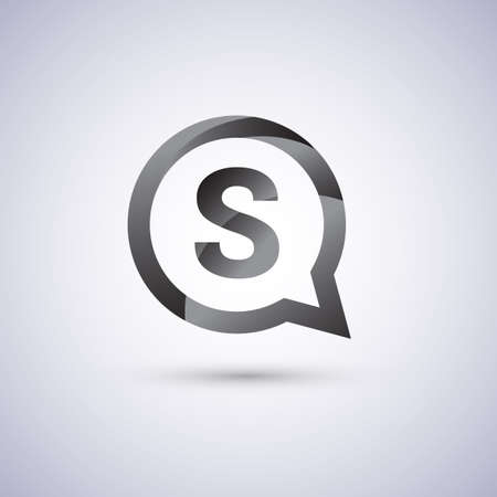 S letter, grey color on circle chat icon. Vector design for your application for company identity.