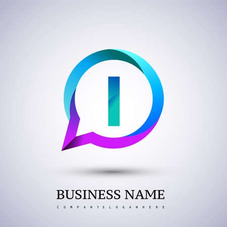logo I letter colorful on circle chat icon. Vector design for your logo application for company identity.