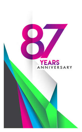 87th years anniversary logo, vector design birthday celebration with colorful geometric isolated on white background.