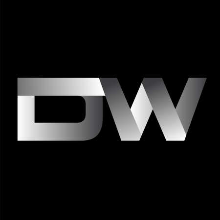 Initial letter DW uppercase modern and simple logo linked white colored, isolated in black background. Vector design template elements for company identity.