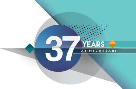 37th years anniversary logo, vector design birthday celebration with colorful geometric background and circles shape. 向量圖像