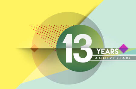13th years anniversary logo, vector design birthday celebration with colorful geometric background and circles shape.
