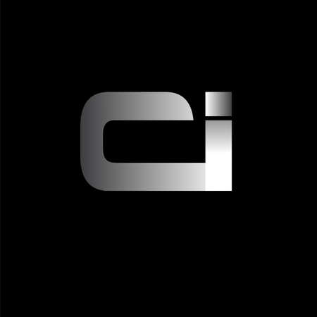 Initial letter CI uppercase modern and simple linked white colored, isolated in black background. Vector design template elements for company identity.
