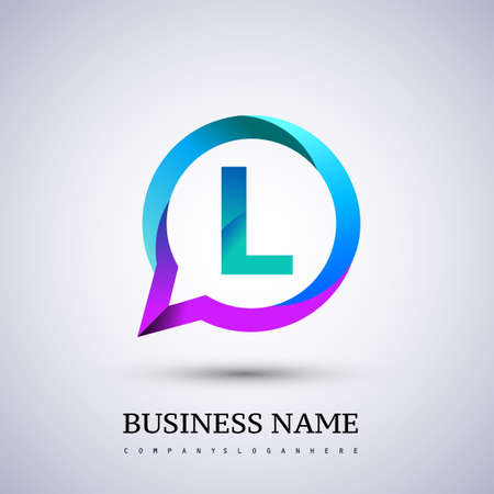 logo L letter colorful on circle chat icon. Vector design for your logo application for company identity. Logo