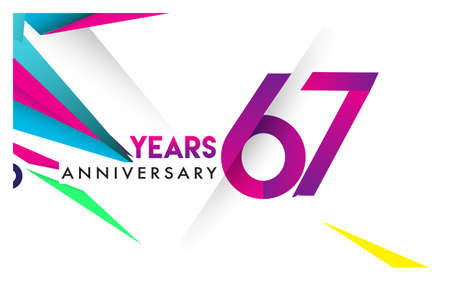 67th years anniversary logo, vector design birthday celebration with colorful geometric isolated on white background. 向量圖像