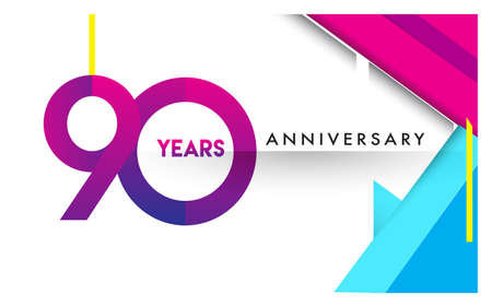 90th years anniversary logo, vector design birthday celebration with colorful geometric isolated on white background.