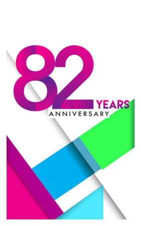82nd years anniversary logo, vector design birthday celebration with colorful geometric isolated on white background.