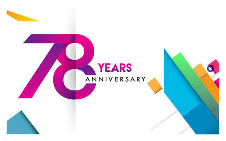 78th years anniversary logo, vector design birthday celebration with colorful geometric isolated on white background.