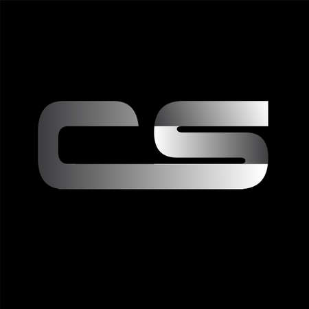 Initial letter CS uppercase modern and simple linked white colored, isolated in black background. Vector design template elements for company identity. Illusztráció