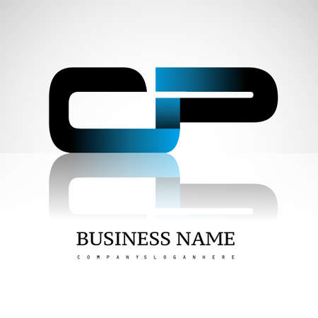Initial letter CP uppercase modern and simple logo linked blue and black colored, isolated in white background. Vector design for company identity.