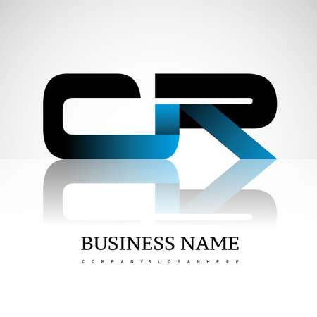 Initial letter CR uppercase modern and simple logo linked blue and black colored, isolated in white background. Vector design for company identity. Logó