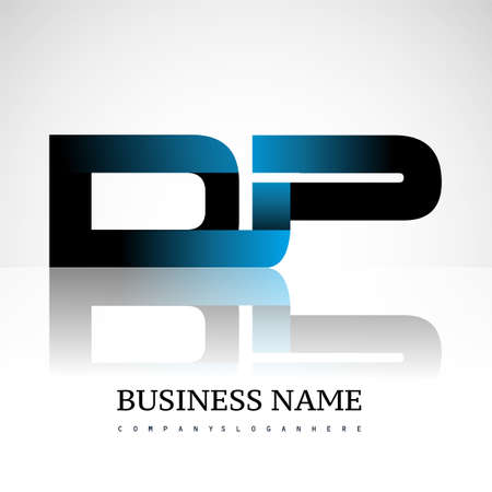 Initial letter DP uppercase modern and simple logo linked blue and black colored, isolated in white background. Vector design for company identity.