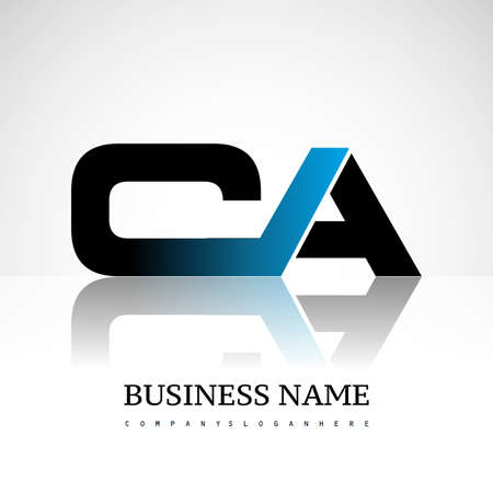 Initial letter CA uppercase modern and simple logo linked blue and black colored, isolated in white background. Vector design for company identity.