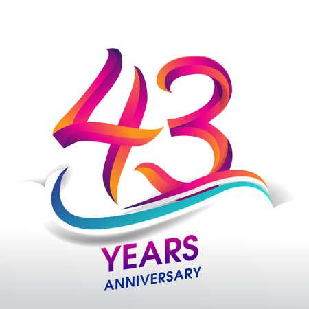43rd Years Anniversary celebration logo, birthday vector design.