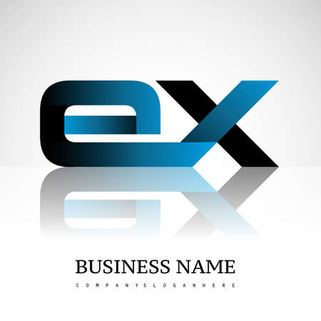 Initial letter EX uppercase modern and simple logo linked blue and black colored, isolated in white background. Vector design for company identity.